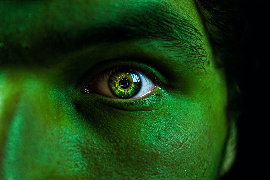 nJoy Vision Halloween Eye Safety feature image of green colored contacts and face paint