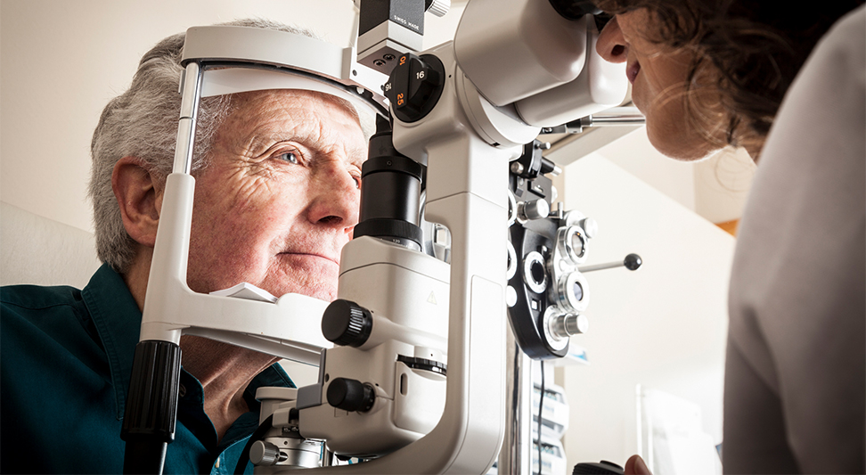 nJoy Vision Healthy Aging Month blog story image of an older man getting an eye exam